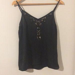 Black, Embellished , Satin Camisole